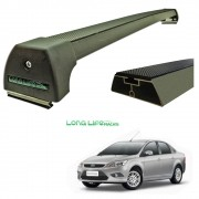 Rack Teto Bagageiro Focus Hatch Sedan 2010 a 2013 Longlife Modelo Aluminio
