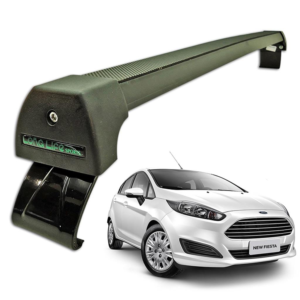 Rack Teto Bagageiro New Fiesta Hatch / Sedan 2011 Em Diante Longlife Modelo Aluminio Preto