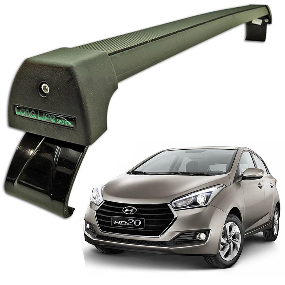 Rack Teto Bagageiro Hyundai HB20 2012 Em Diante Longlife Modelo Aluminio Preto