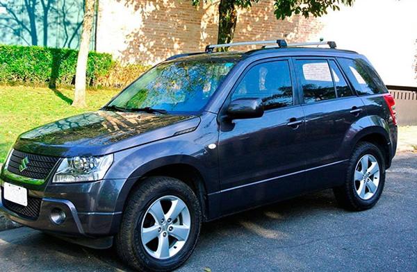Rack Teto Bagageiro Grand Vitara 2008 Em Diante (Com Longarina) Longlife Modelo Aluminio Preto