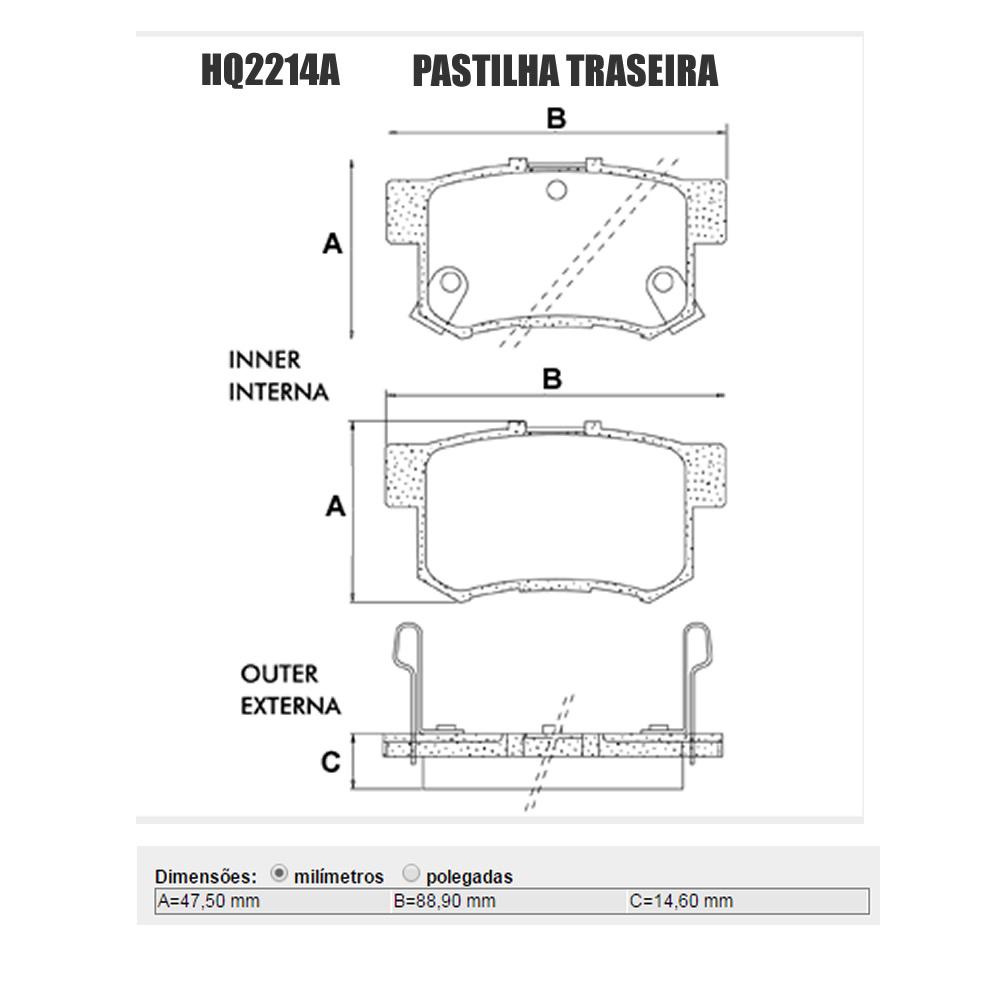 Kit Pastilha Freio Civic 2013 2014 2015 2016 Dianteiro + Traseiro Jurid
