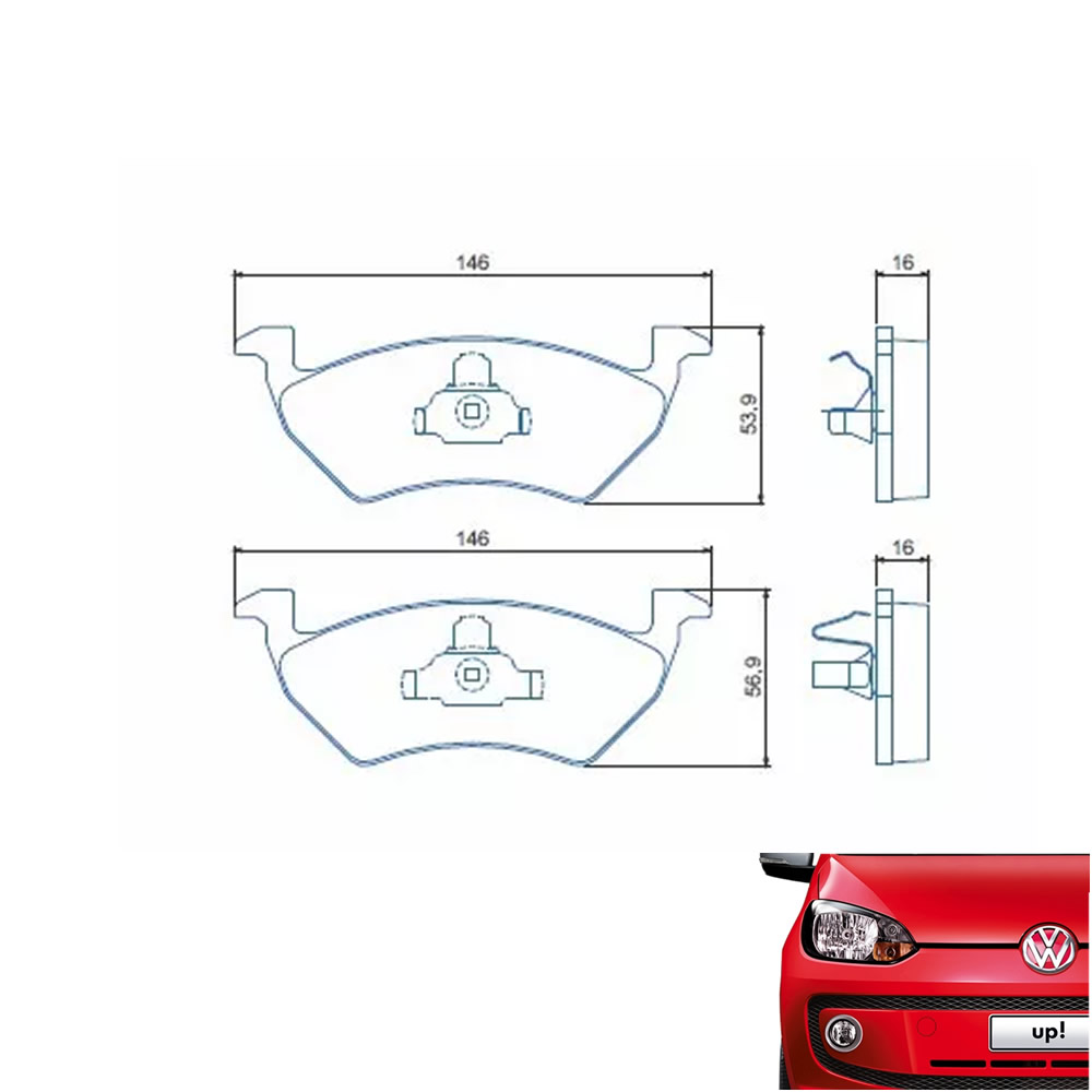 Kit Disco e Pastilha Freio Dianteiro Volkswagen Up! 1.0