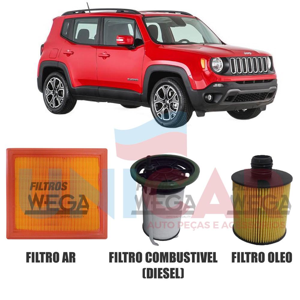 Kit Filtro Ar + Oleo + Combustivel Renegade Fiat Toro 2.0 Turbo Diesel