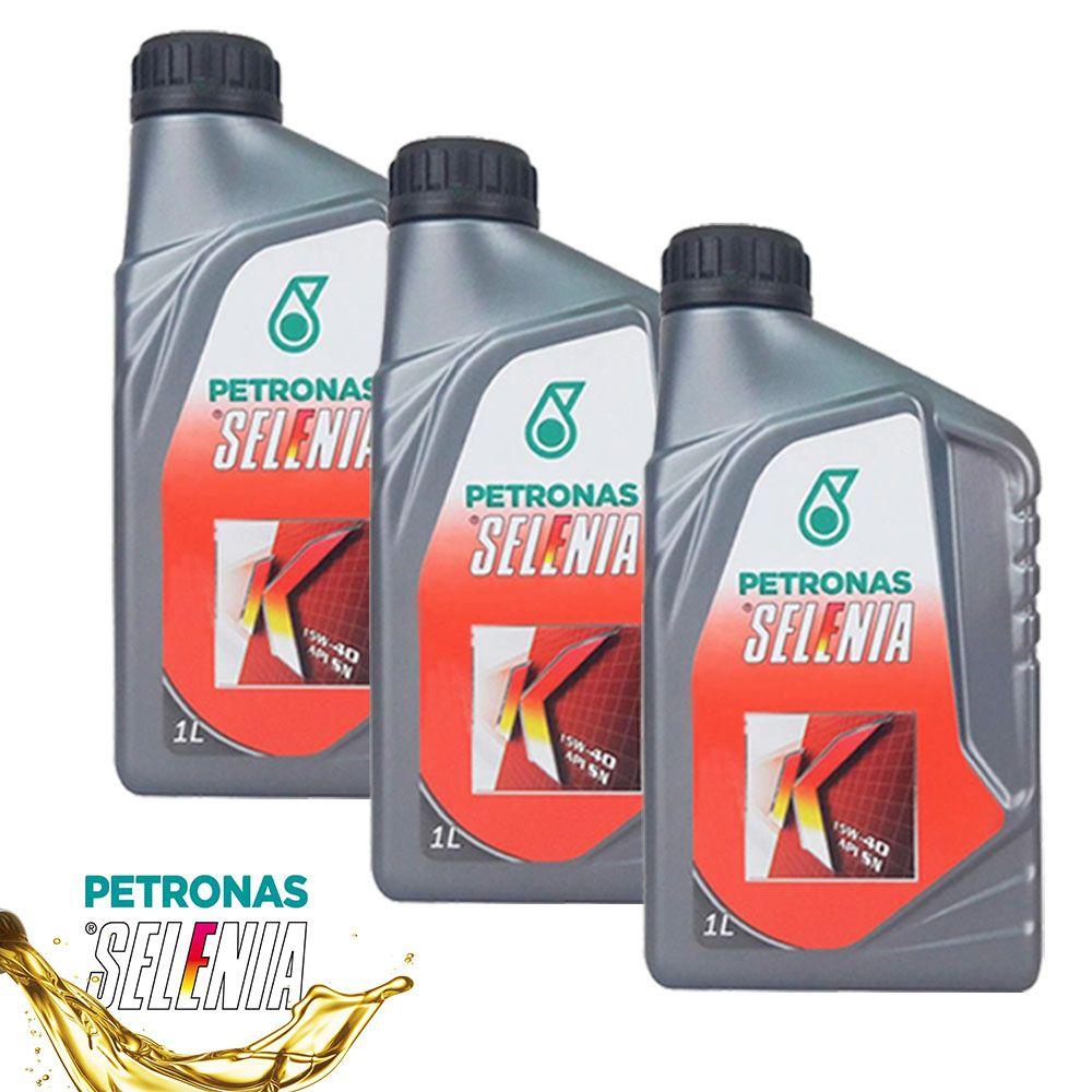 Kit 3 Litros de Oleo Para Motor Selenia K 15w40 Api Sn Semi
