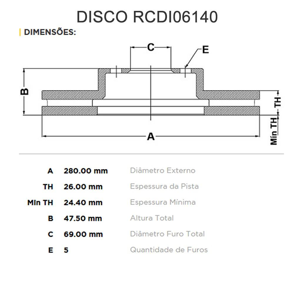 Kit Disco + Pastilha Freio Dianteiro Tucson 2010 a 2015