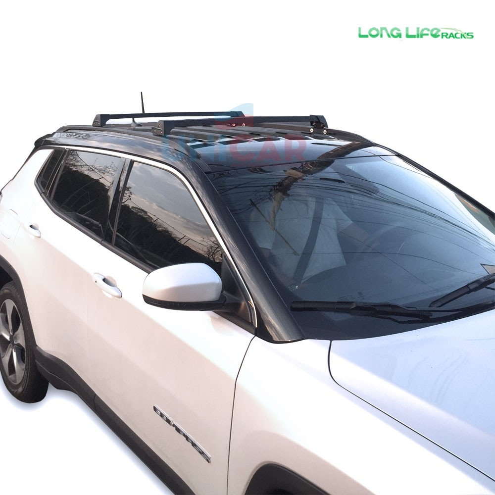 Rack Aluminio Black Jeep Compass A Partir de 2017 + 2 Calhas Bike Longlife