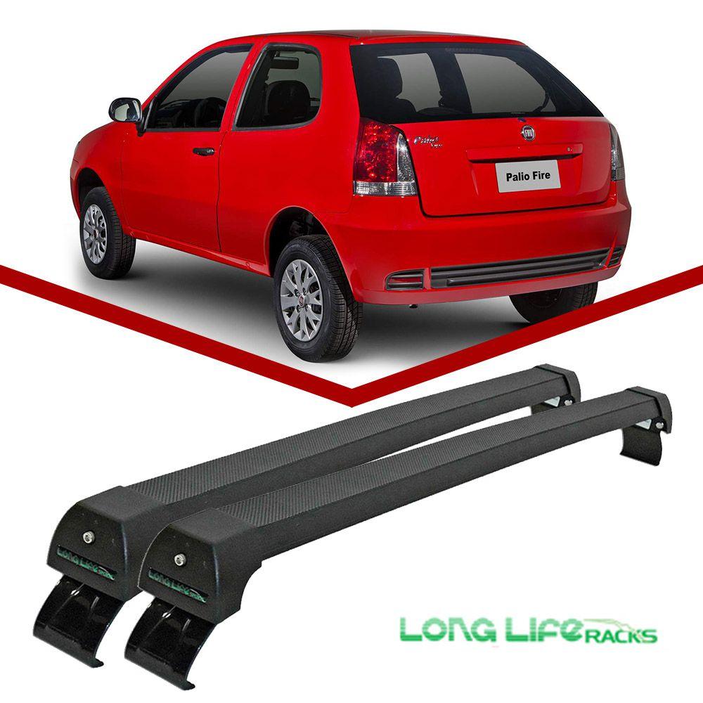 Rack Teto Bagageiro Fiat Palio 2 Portas (Exceto Novo Palio) Long Life Modelo Aluminio Preto