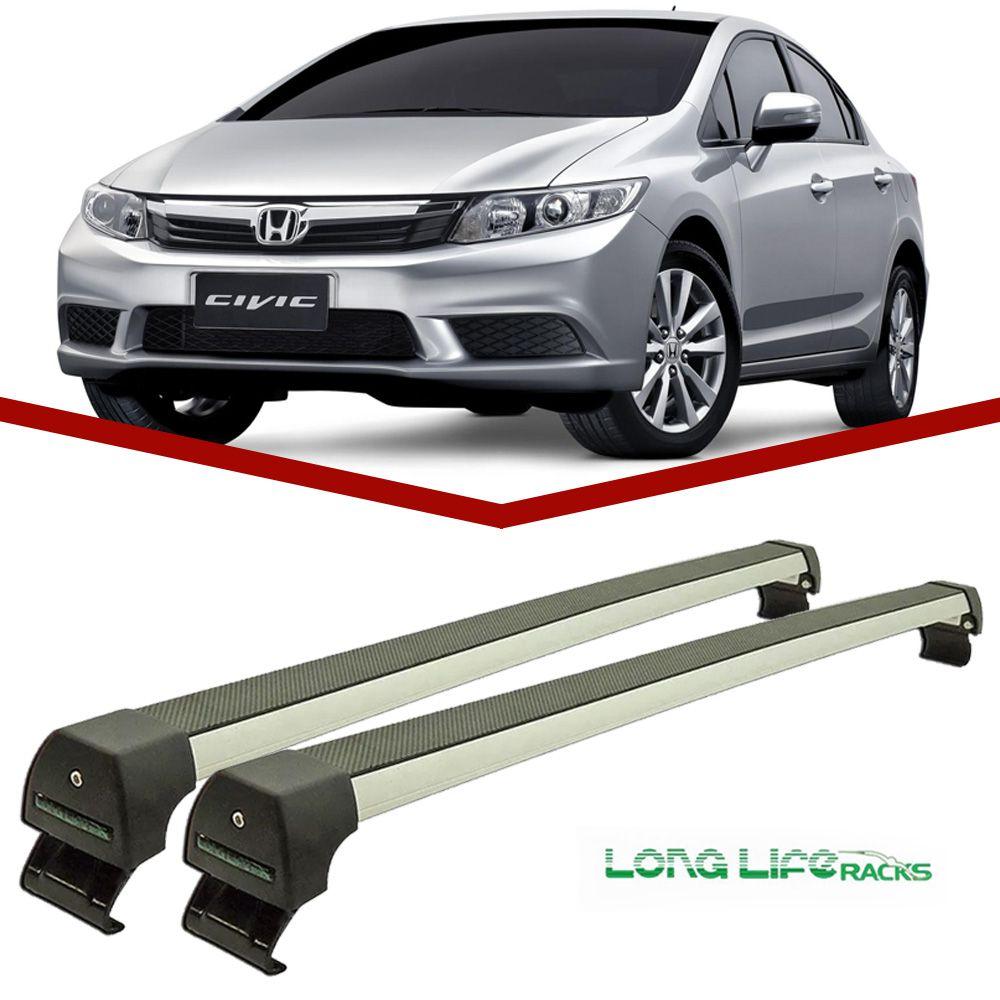 Rack Teto Bagageiro Novo Civic 2012 a 2014 Longlife Modelo Aluminio