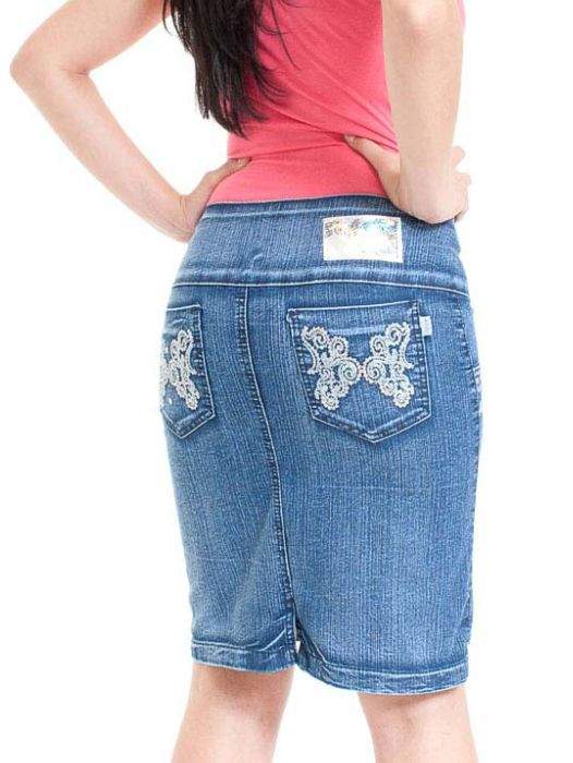 Saia Jeans Evangélica Bordada Adulto - 205