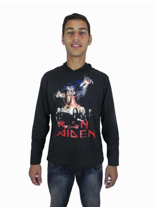 Camisa Rock Manga Longa Capuz Masculina Adulto - 184