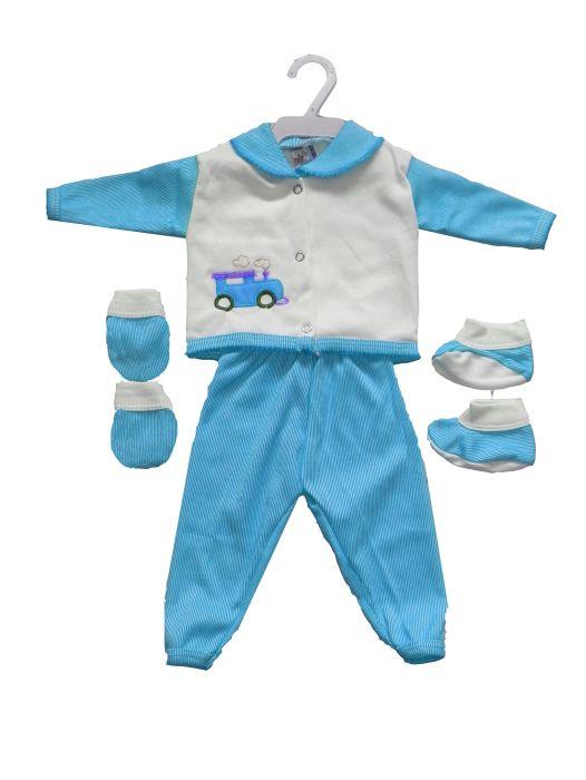 Conjunto Bordado Luvas E Pantufas Masculino Infantil - 254