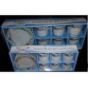 Conjunto de Xicaras para Cha e Caf� em Porcelana com 24 Pe�as para presentes