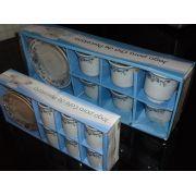 Jogo De Cha E Cafe Xicaras Porcelana C/24 Pe�as Azul P/presentes