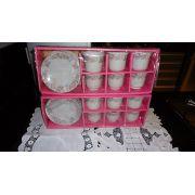 Jogo De Cha Xicaras Em Porcelana Com 24 Pe�as Rosa P/ Presentes