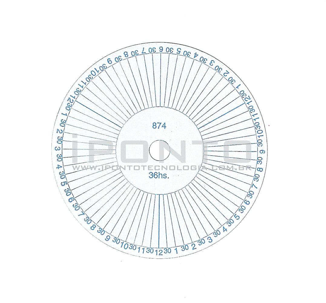 Disco para Relógio de Vigia Relovoux 36 Horas - Caixa com 100 unid - Cód 874 - Diâmetro 72mm  - Iponto Tecnologia