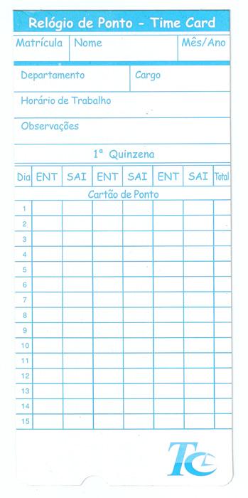Cartão para Time Card - Caixa com 100 unid - Modelo Importado - Gramatura 300 g/m²  - Iponto Tecnologia