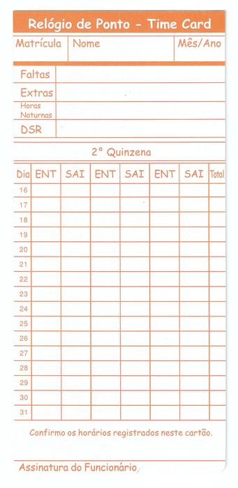 Cartão para Time Card - Caixa com 100 unid - Modelo Nacional - Gramatura 210 g/m²  - Iponto Tecnologia