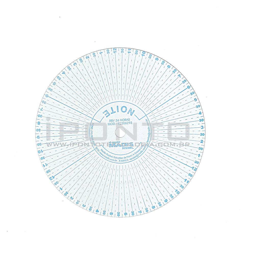 Disco para Relógio de Vigia Madis Rodbel ou Dimep 36 Horas - Caixa com 100 unid - Diâmetro 112mm  - Iponto Tecnologia