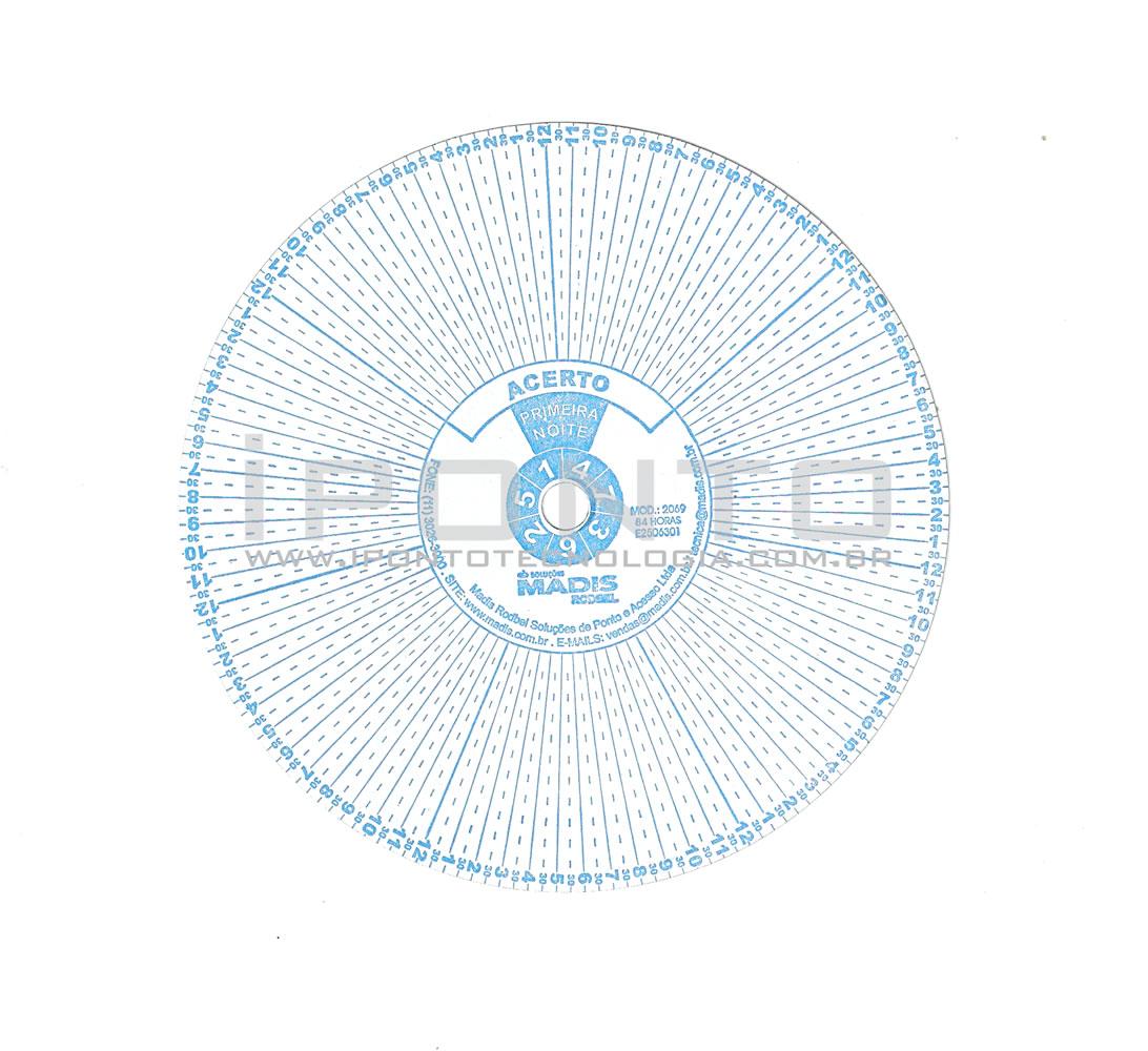 Disco para Relógio de Vigia Madis Rodbel ou Dimep 84 Horas - Caixa com 50 unid - Diâmetro 112mm  - Iponto Tecnologia