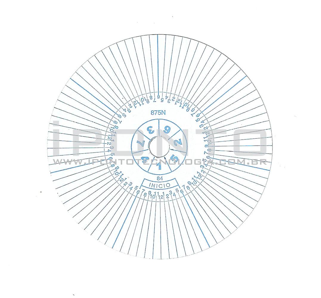 Disco para Relógio de Vigia Relovoux 84 Horas - Caixa com 50 unid - Cód 875N - Diâmetro 77mm  - Iponto Tecnologia
