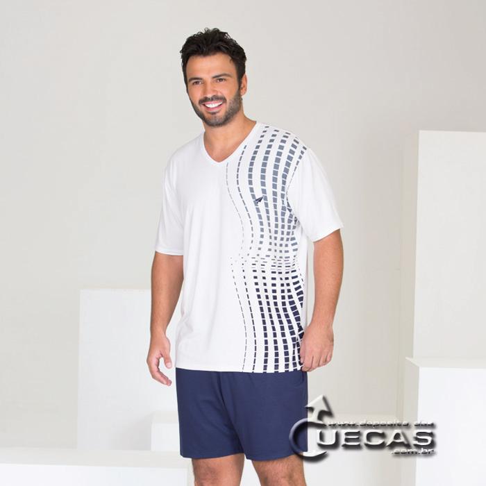 Pijama Curto de Viscose Stretch Modo Avião - 07667