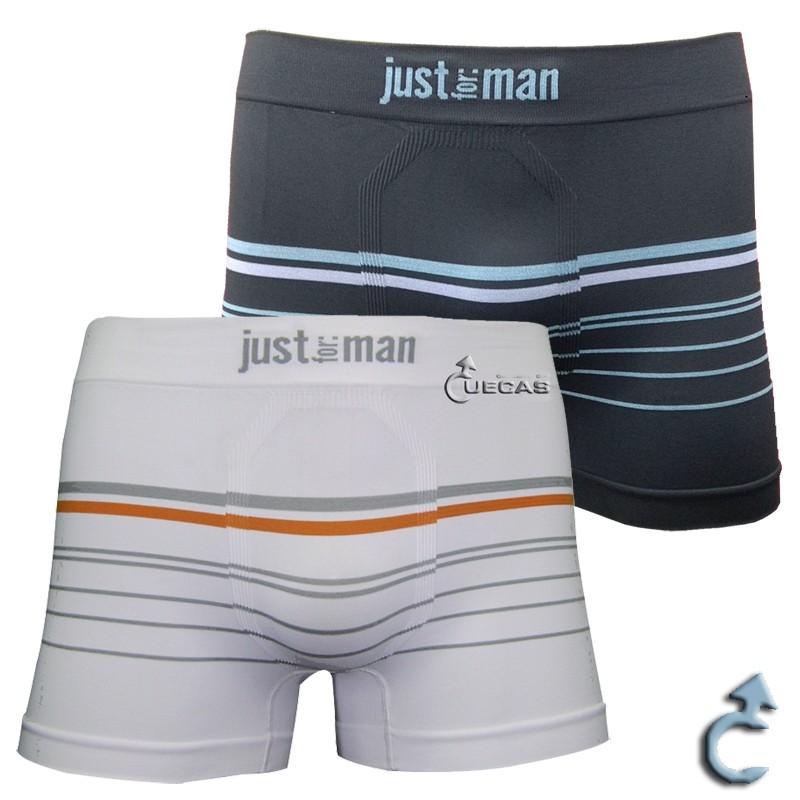 Cueca Just For Man Boxer Sem Costura Listrada - 12.000208