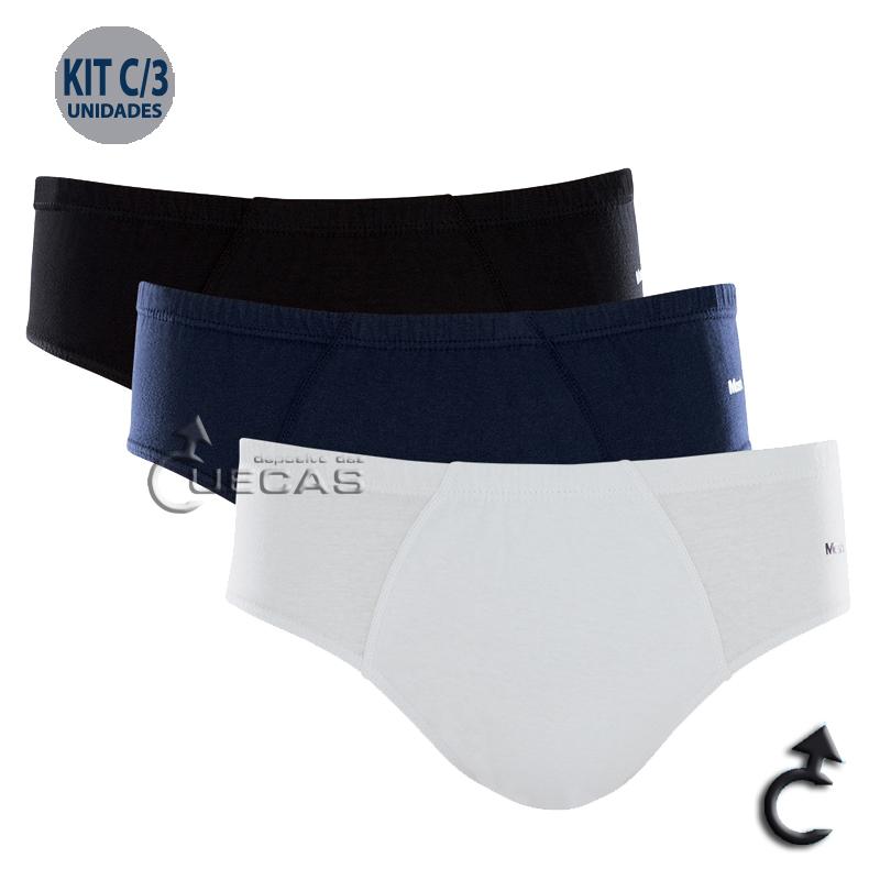 Kit C/ 3 Cuecas Mash Slip 100% Algodão - 010.20