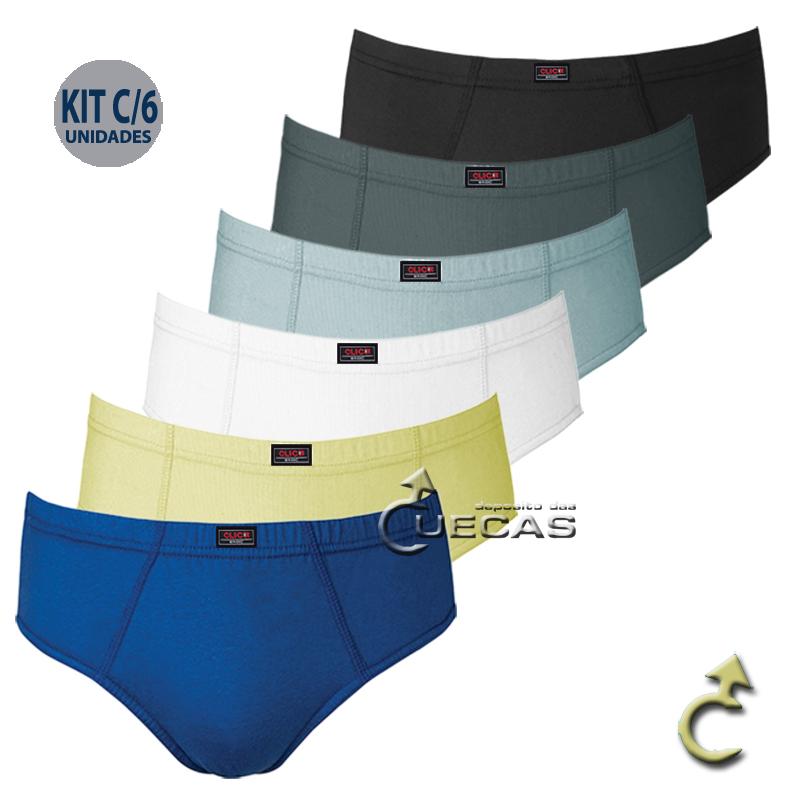 Kit c/6 Cuecas Slip Basic Click 100% Algodão - 148