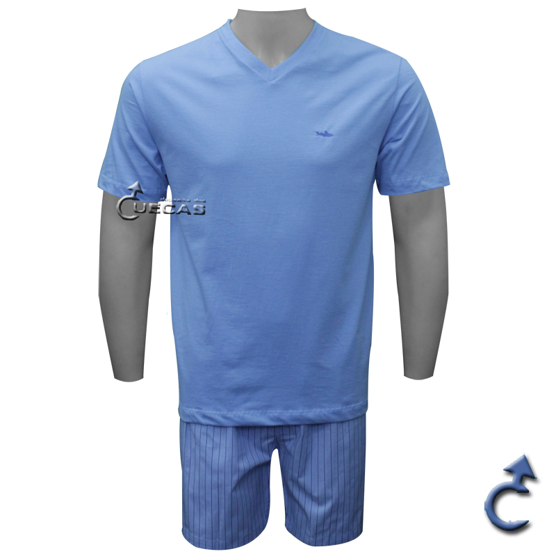 Pijama Masculino Curto Algodão e Tricoline Fitswell - 11041