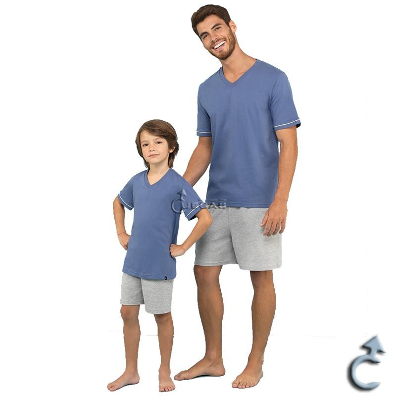 Pijama Masculino Lupo - Pai e Filho - Manga Curta (20000-002 e 28000-001)