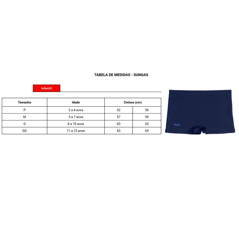 Sunga Boxer Infantil Lisa C/ Vivo Lateral - 310.07