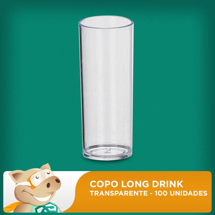 Copo Long Drink Transparente 100 Unidades  - ECONOMIZOU