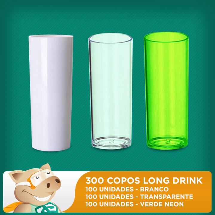Kit Copos Long Drink Branco 300 Unidades  - ECONOMIZOU