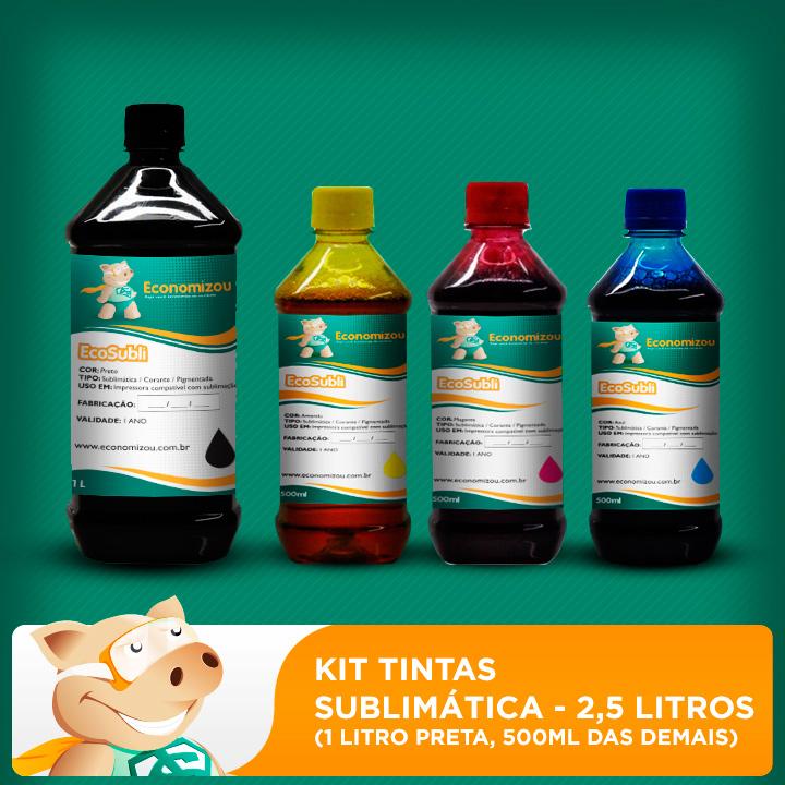 Kit Tintas Sublimáticas Epson 2,5L (1L preta e 500ml demais cores)  - ECONOMIZOU
