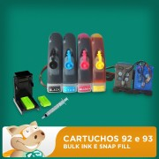 Cartuchos 92 Preto e 93 Colorido HP Adaptados para Bulk Ink com Snap Fill