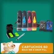 Cartuchos 60 Preto e Colorido HP Adaptados para Bulk Ink com Snap Fill