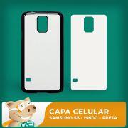 Capa Pl�stica 2D para Sublima��o - Preta -  Samsung S5 - I9600