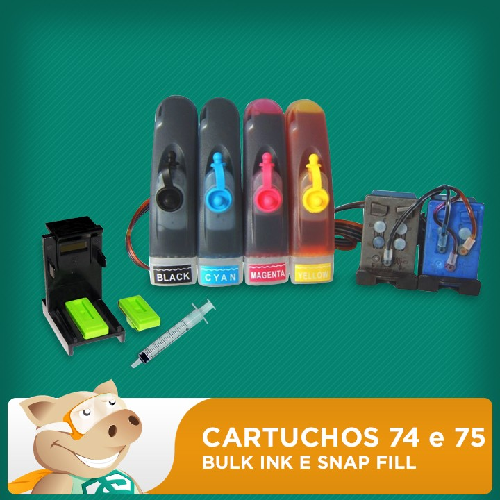 Cartuchos 74 Preto e 75 Colorido HP Adaptados para Bulk Ink com Snap Fill
