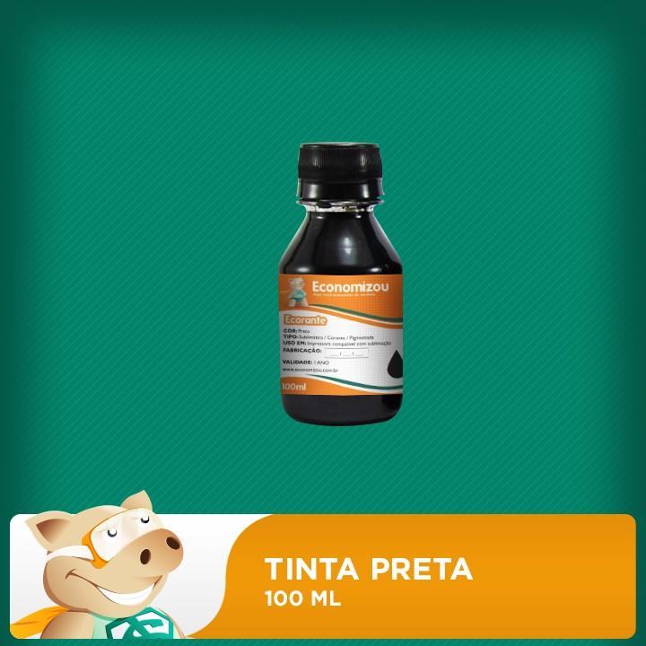 100ml Tinta Preta Corante HP, CANON E LEXMARK  - ECONOMIZOU
