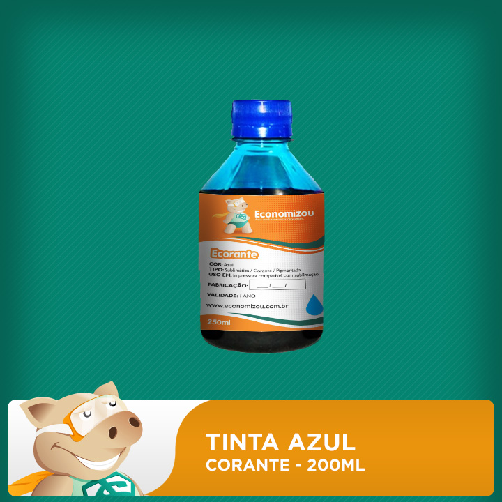 200ml Tinta Corante Azul HP, CANON E LEXMARK  - ECONOMIZOU