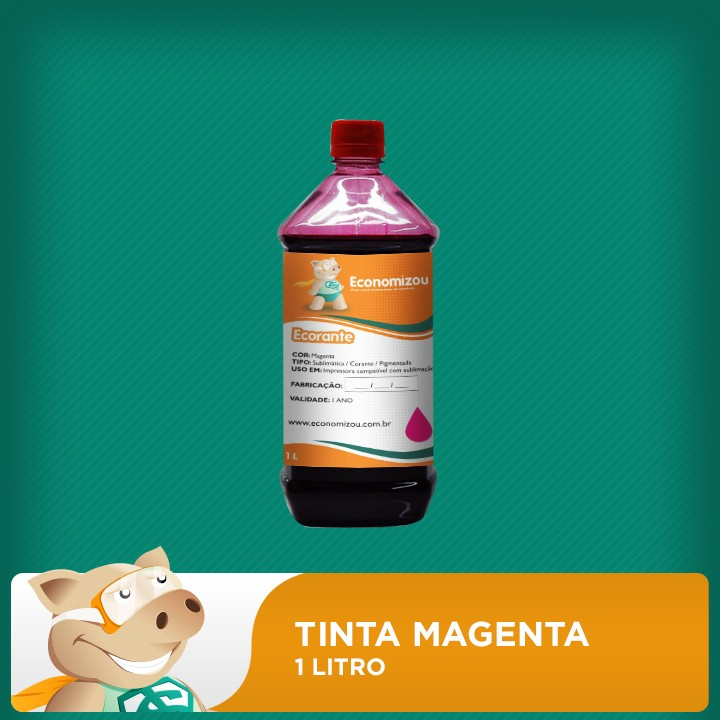 1 Litro Tinta Magenta  - ECONOMIZOU