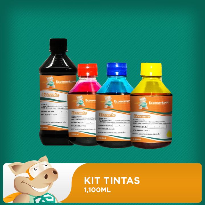 Kit  Tintas Corantes HP, LEX e CANON 1,100ml ( 500ml preta e 200ml demais cores)  - ECONOMIZOU