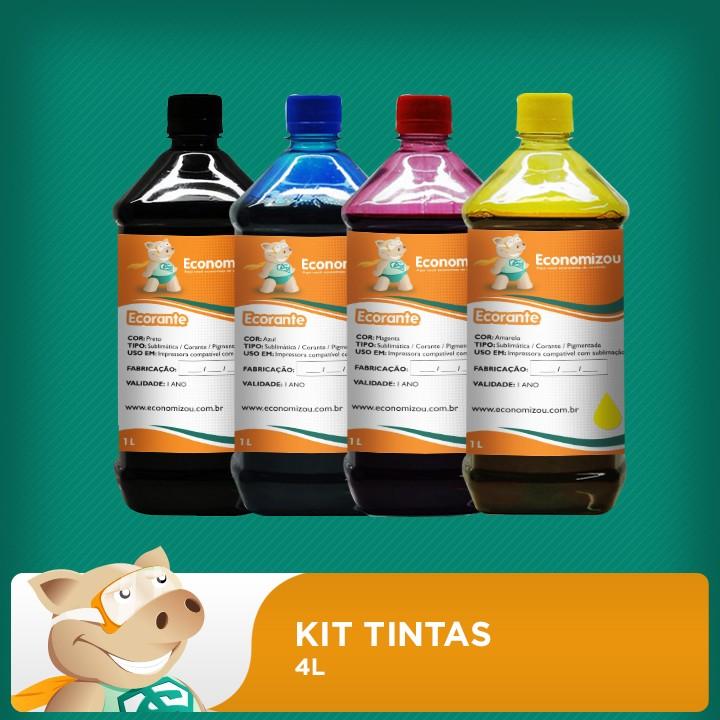 Kit Tintas Corante HP, LEX e CANON 4L (1 litro de cada cor)  - ECONOMIZOU