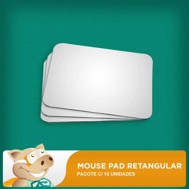 Mouse Pad Retangular 18x22cm Pacote c/ 10  - ECONOMIZOU