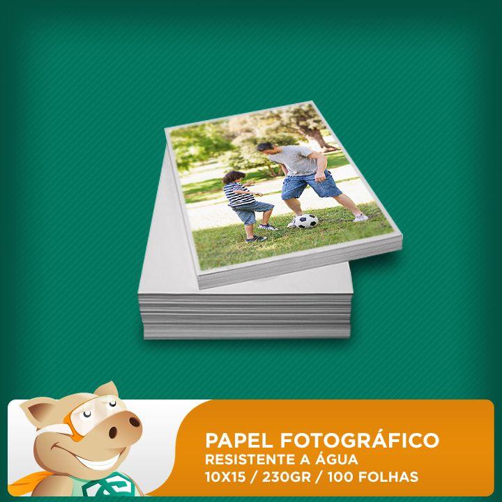 Papel Fotográfico 100 folhas 230gr 10x15 (Resistente à água)  - ECONOMIZOU