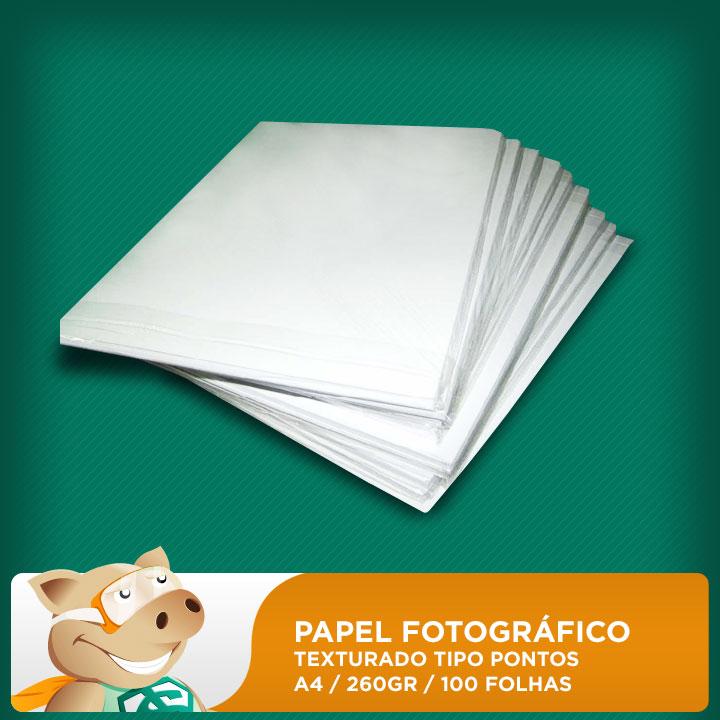 Papel Fotográfico 100 folhas 260gr A4 texturado tipo pontos (Resistente à água)  - ECONOMIZOU