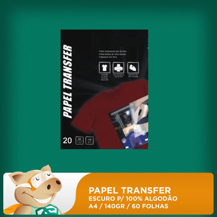 Papel Transfer Escuro p/ 100% Algodão 140gr A4 60 Folhas  - ECONOMIZOU