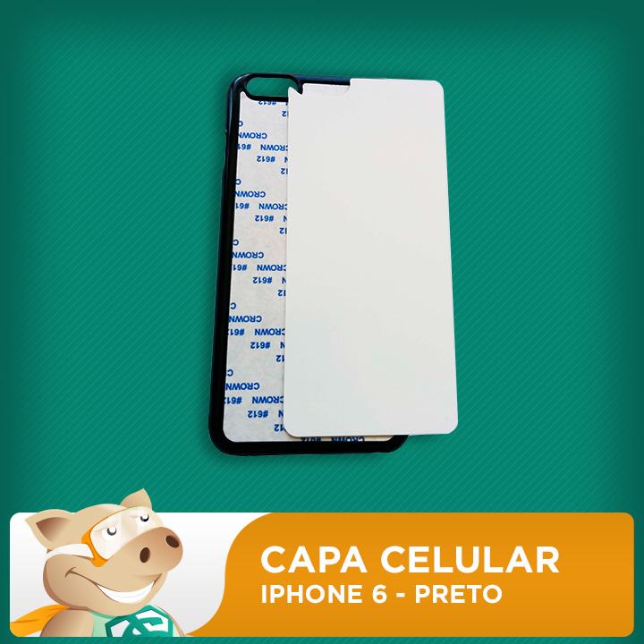 Capa Celular 2D para Sublimação - Preto - Iphone6  - ECONOMIZOU