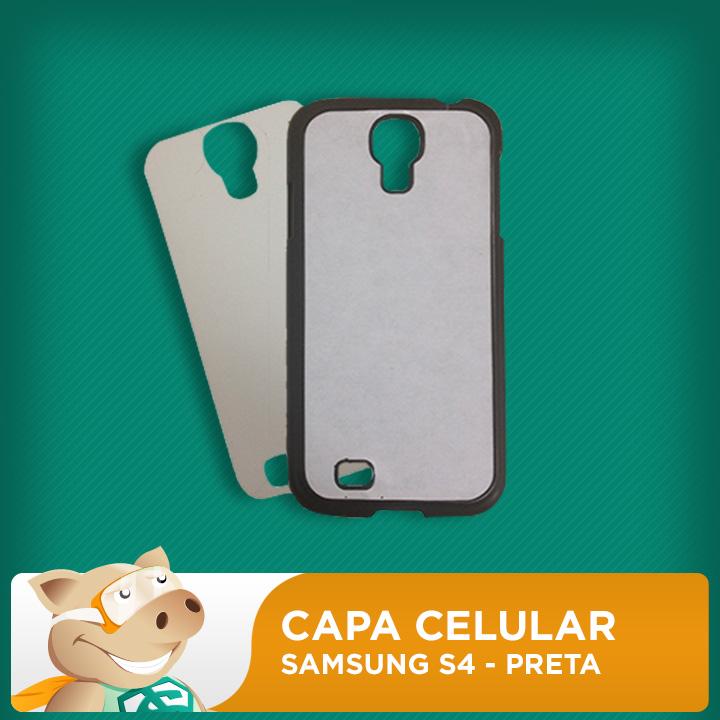 Capa Celular 2D para Sublimação - Preta - Samsung S4  - ECONOMIZOU