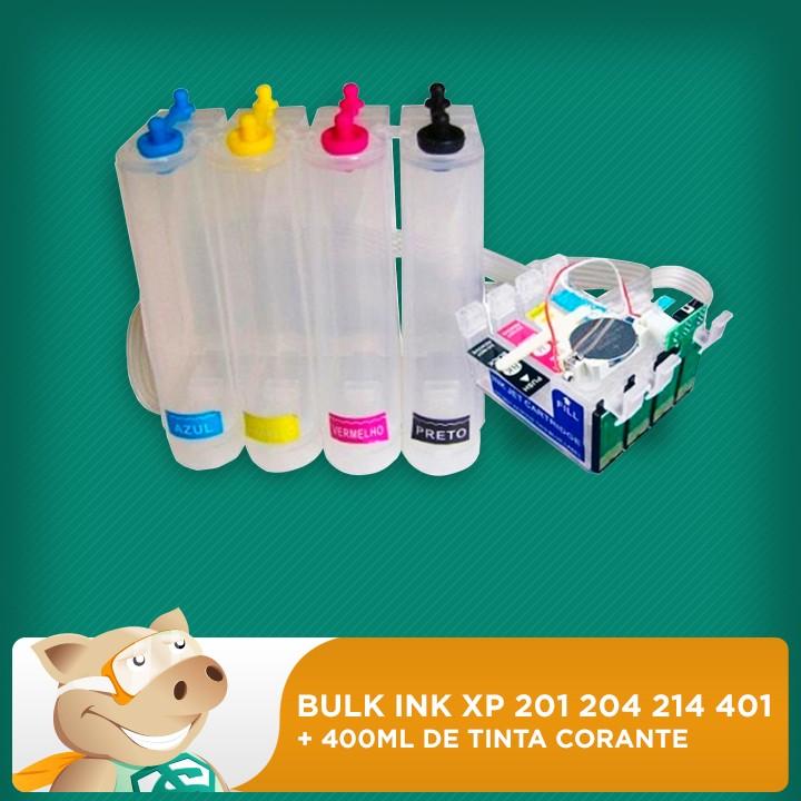 Bulk Ink Xp 201 204 214 401 c/ Tinta Corante  - ECONOMIZOU